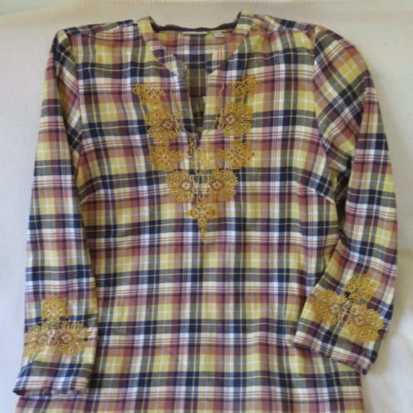 Lori Goldstein Plaid Flannel Tunic with Embroidery - Size 18W